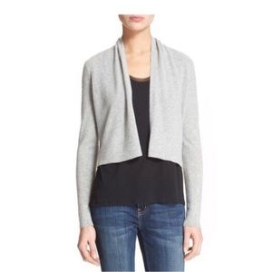 Rebecca Taylor Gray Cropped Cashmere Cardigan